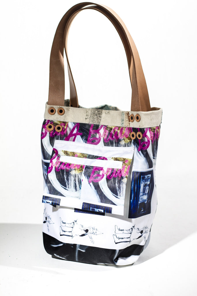 reversible peanut butter & jelly pitbull tote