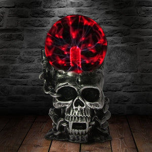 Skull Form Plasma Sphere Nebula Ball Table Lamp
