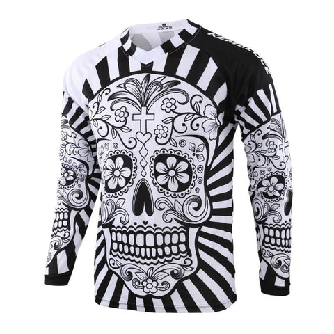 Long Sleeve Men's Quick Dry White Skull BMX Bicycle Top