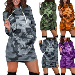 Women's Long Sleeve Casual Hooded Camouflag Skull Print Dress