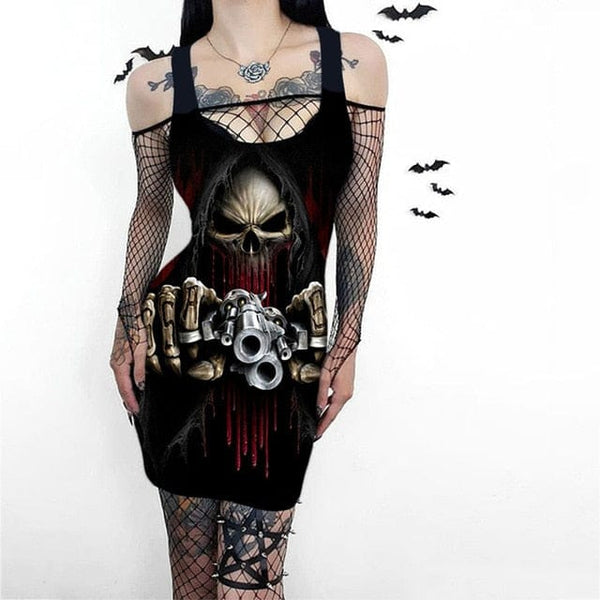 Skull Print Women's Sleeveless Punk Gothic Dress 5 Patterns