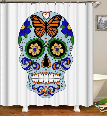 Sugar Skull Bathroom Fabric Shower Curtain