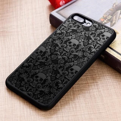 Gothic Skull Scroll Pattern Phone Case Cover For iPhone & Samsung