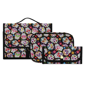 Women's Skull Print Waterproof Zipper 3 Set Travel Cosmetic Bag