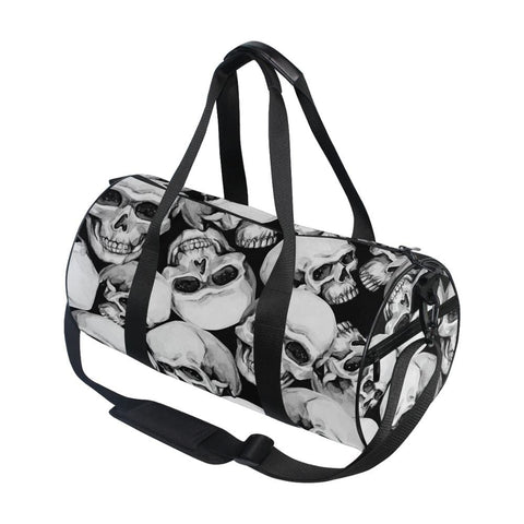 Skull Print Canvas Gym or Travel Large Pocket Casual Shoulder Bag