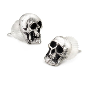 A pair of tiny skull pewter stud Earrings - Skull Clothing and Accessories Skull only Merchandise