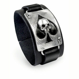 Ace Of Dead Spades Leather Bracelet