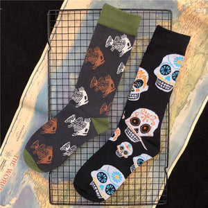 Med's Skull or Piranha Fish Skeleton  Crew Cotton Socks