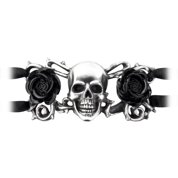 Skull and Black Roses Adjustable Bracelet on Black Ribbons - Skull Clothing and Accessories Skull only Merchandise