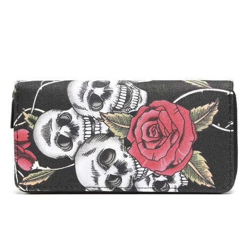 Large Size Card Holders Canvas Long Purse Skull and Rose Printed Zipper Wallet