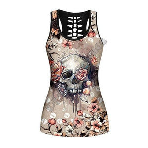 Women's Flower And Skull Printed Hollow Out Casual Tank