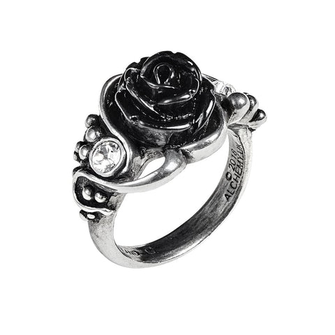 Black Rose Clear Crystal Ring