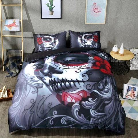 Flower Skull Black Skull Bedding Set Cotton Blend Duvet Cover Set