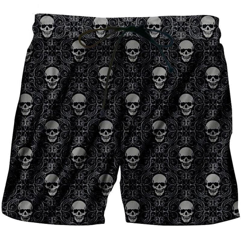 Men's 3D Printed Geometric Pattern Skull Shorts