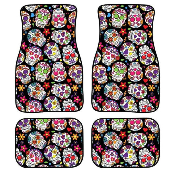 Car Floor Mats Set Of 2 or 4 Black Sugar Skull Print Universal Fit