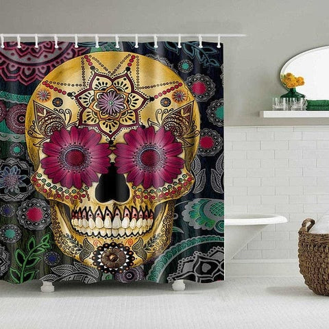 Skull Design Custom Waterproof Bathroom Curtain