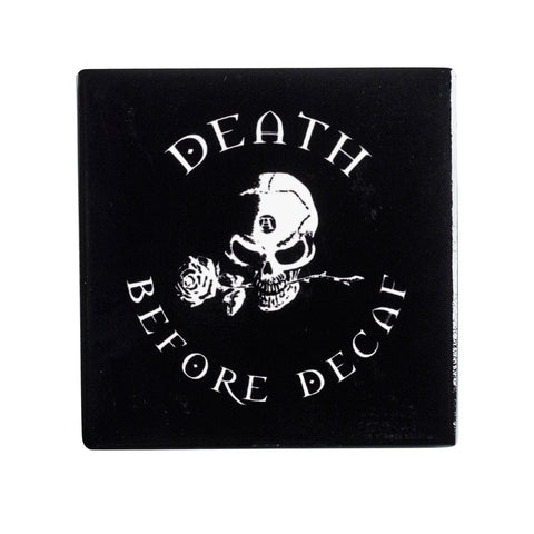 Death Before Decaf Ceramic Coaster