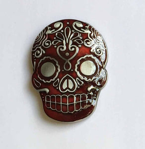 Clear Red Mexican Katrina Skull Belt Buckle