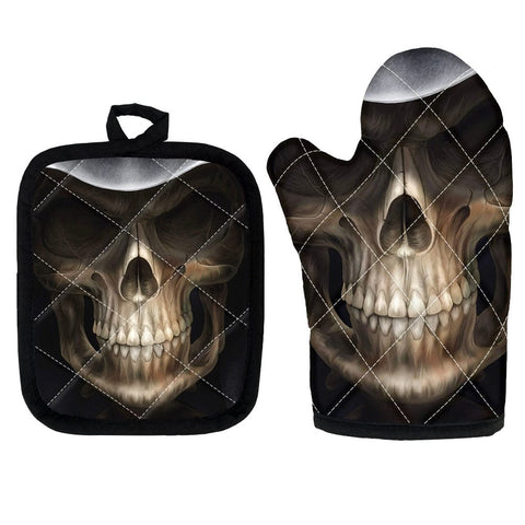 Skull Print 2 Piece Non-Slip Kitchen Oven Mitts and Heat Resistant Pot Handle 9 Patterns