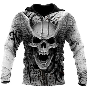 Skull With Angel Wings All Over Print Pullover, Zipper Hoodie or Sweatshirt