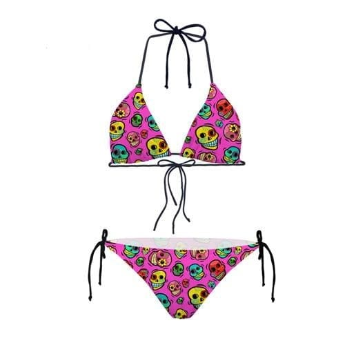 Two Piece Skull Pattern Girls Bikini Set Bathing Suits for Kids - Skull Clothing and Accessories Skull only Merchandise