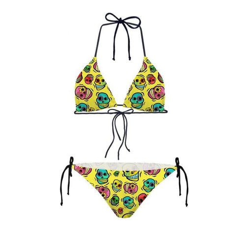 Two Piece Skull Pattern Girls Bikini Set Bathing Suits for Kids