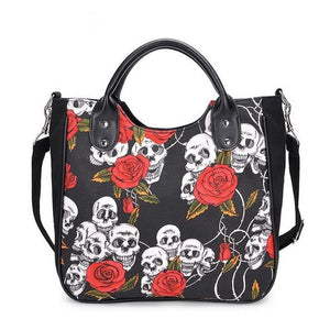 Gothic Women's Handbag Skull Rose Canvas Handbag