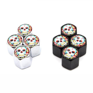 4 Pcs Universal Skull With Flower Style Stem Covers
