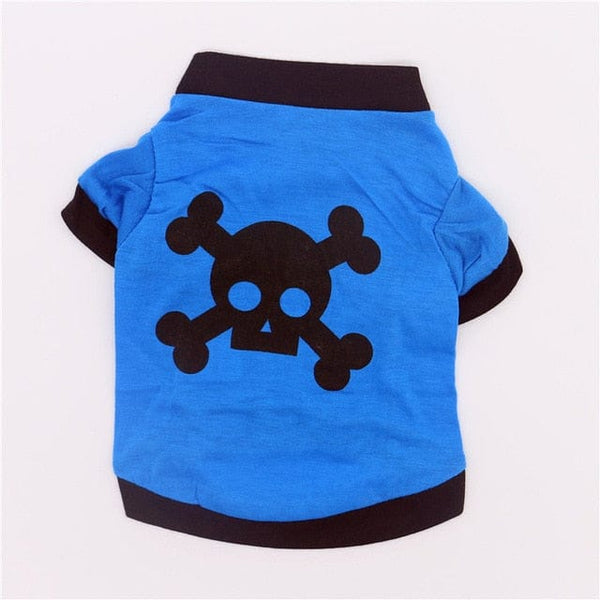 Skull Print or Dog Paw Cotton Autumn Breathable Tshirt for Small Medium Pet