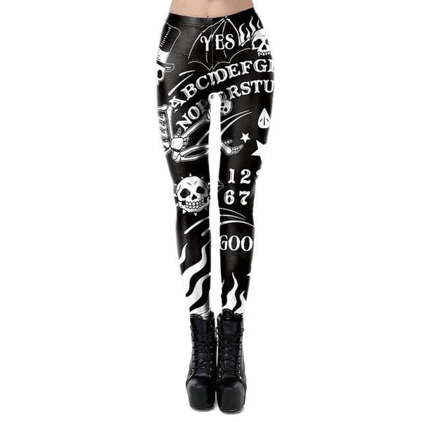 Printed Black Skull Ghost Diablo Leggings