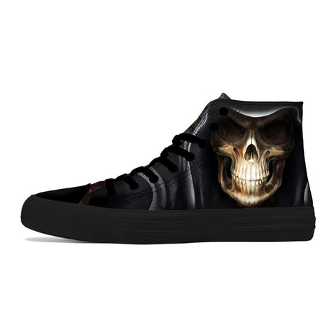 Casual High Top Black Punk Skull Shoes