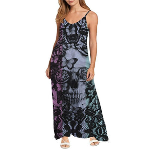 Goth Sugar Skull Pattern Fashion Women's Tank Dress