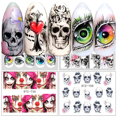 Skull Water Transfer Sticker Decal Nail Design