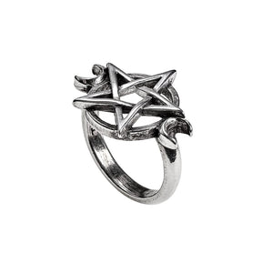 Full Moon Pentagram at Heart Goddess Ring