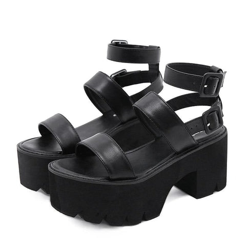Women's Platform Thick Bottom Ankle Strap Sandals