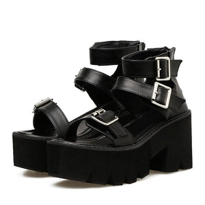 Ankle Strap Women's Open Toe Platform Thick Heels Sandals