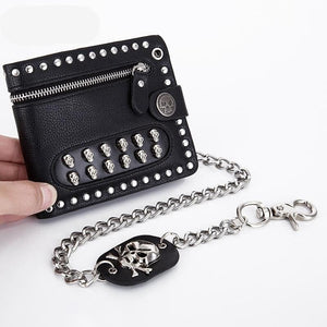 Skull Luxury Men's Short Wallet With Chain