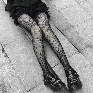 Gothic Fishnet Nylon Thigh High Pantyhose