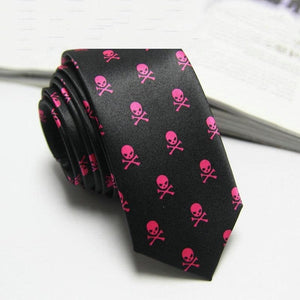 Men Black Skull Print Classic Slim Necktie - Skull Clothing and Accessories Skull only Merchandise
