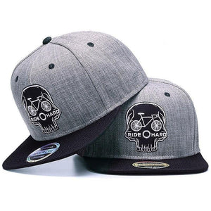 Snapback cap embroidery Skull 6 panel bone linen hat