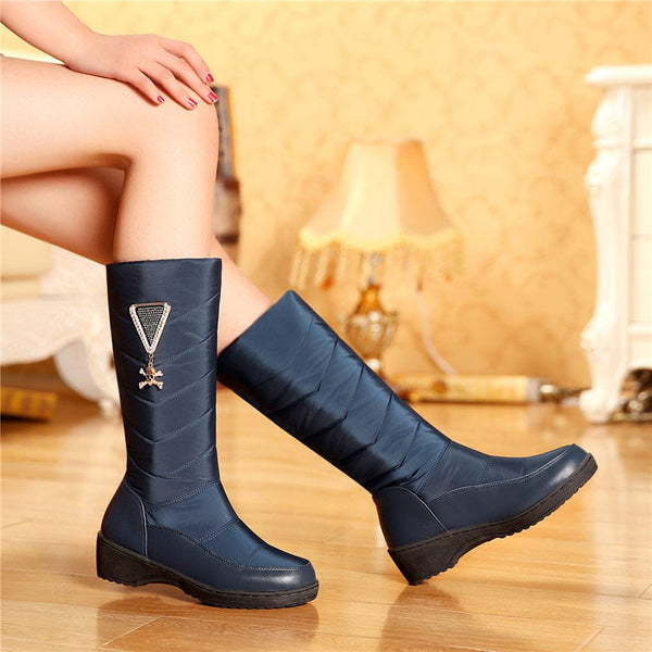 Winter Women Mid-calf Snow Boots Thick Platform Flat Heel Round Toe Crystal Skull - Skull Clothing and Accessories Skull only Merchandise