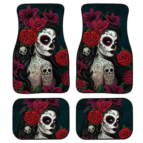 Skull Gothic Car Floor Mats 4pcs/Set for Front and Back