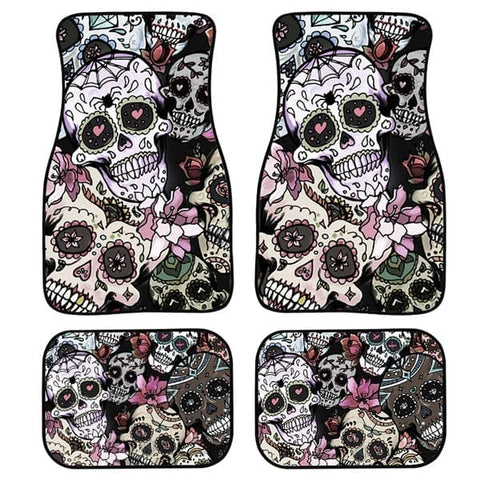 Skull 4pcs/Set Washable Car Floor Mats for Front and Back