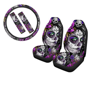 Skull Print 5pcs Soft Car Seat Covers, Anti-Slip Steering Wheel Cover & Seat Belt Covers