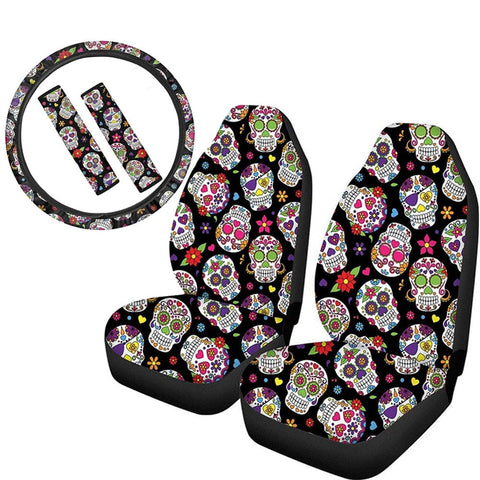 Sugar Skull Fashion Design Slip-Resistant Car Seat Covers Steering Wheel & Seat Belt Pads