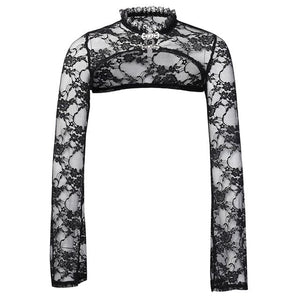 Lace Short Women's Vintage Flower Embroidery Long Sleeve Top