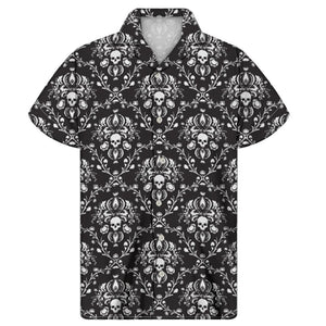 Vintage Skulls Pattern Men's Turn-down Collar Shirts 4 Colors
