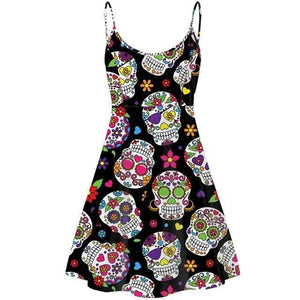 Sugar Skull Print Women's Slip Adjustable Strap Dress