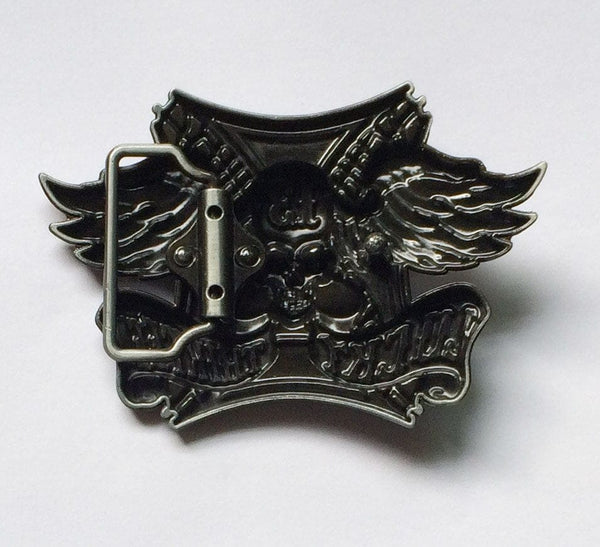 Lucky Thirteen Skull Wings Belt Buckle