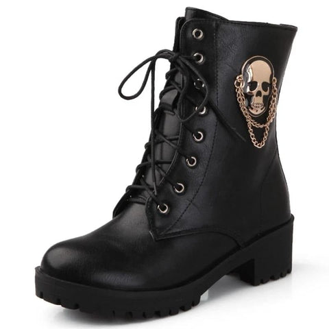 Women's Skull Lace Up Platform Ankle Boots
